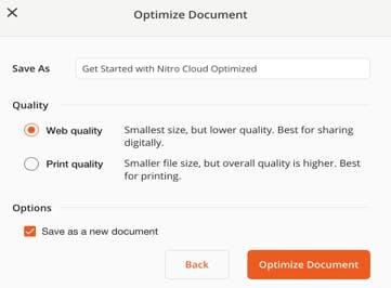 Select quality of PDF compression